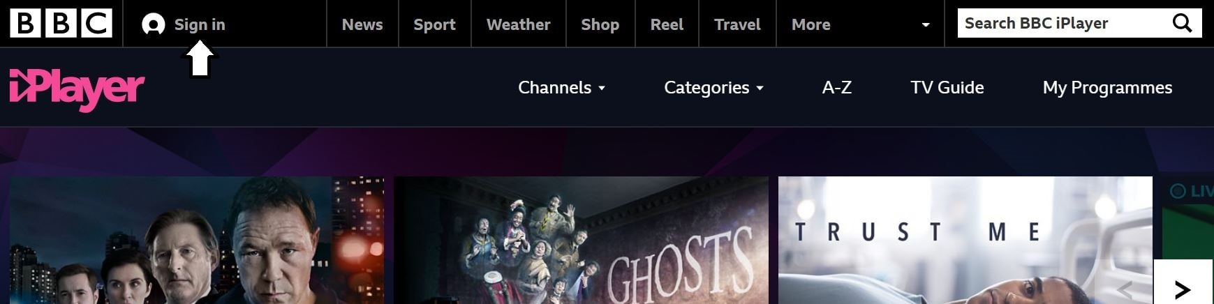 BBC iPlayer sign in