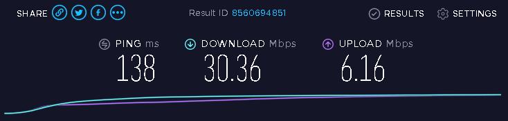 Speed test on a NordVPN server
