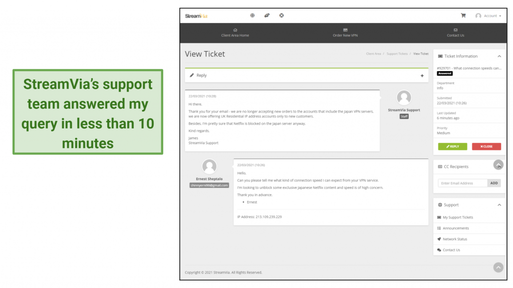 screenshot of StreamVia's support system