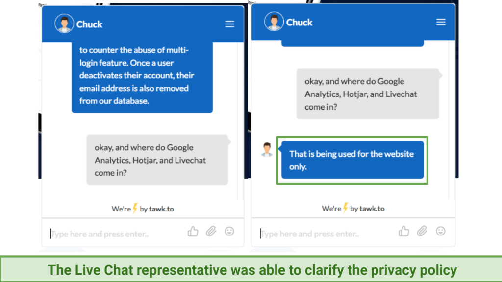 A screenshot of FastestVPN's live chat support answering a query about how the VPN uses Google Analytics, Hotjar, and Livechat