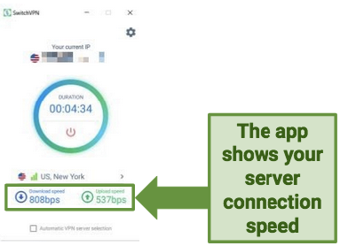 Screenshot demonstrating how SwitchVPN's app shows your connection speed.