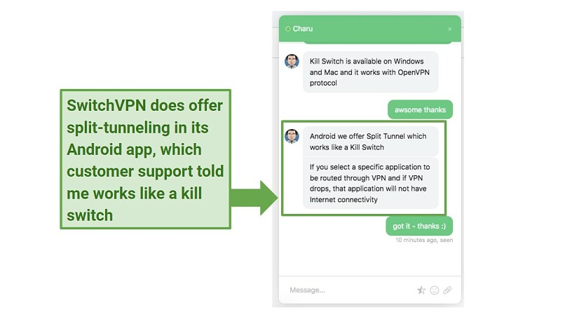 A screenshot of SwitchVPN's live chat support talking about the VPN's Android app and split-tunneling.