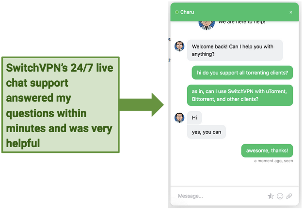 A screenshot of SwitchVPN's excellent 24/7 live chat support