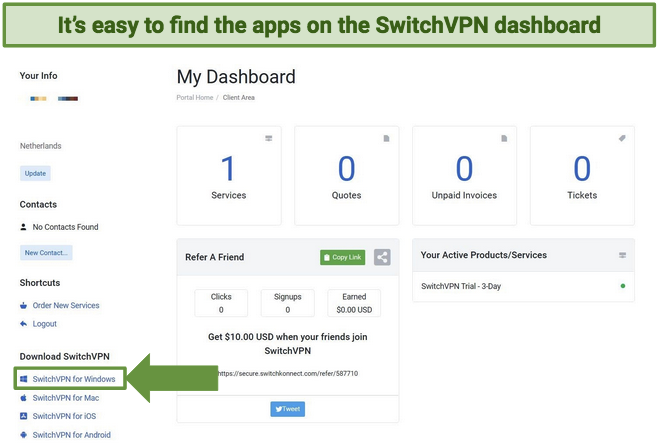 Screenshot showing SwitchVPN dashboard page with app download links
