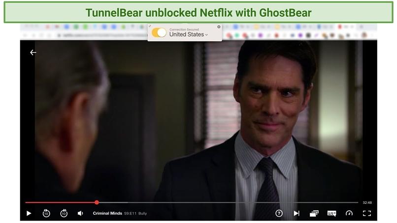 Screenshot showing TunnelBear VPN unblocking Netflix US