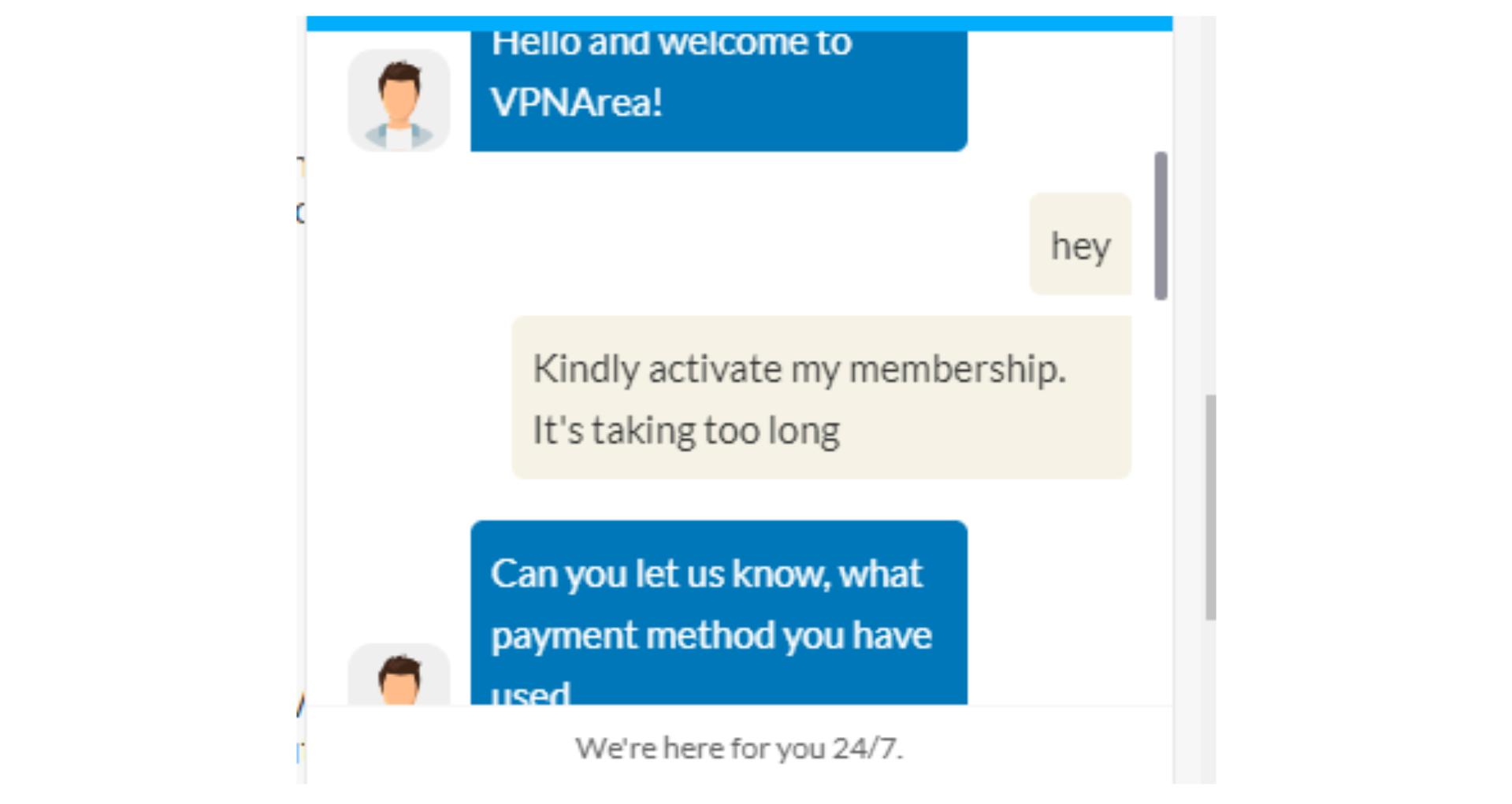 A screenshot of VPNArea's customer service response