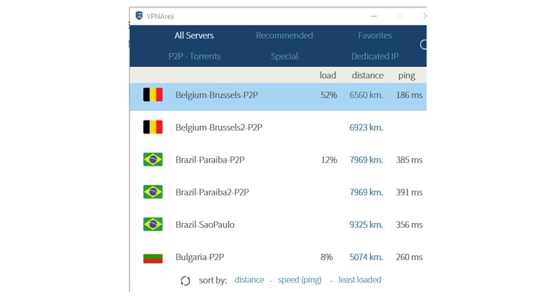 A screenshot of the VPNArea app showing its servers' performance.