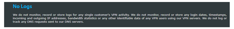 A screenshot of VPNArea's privacy policy