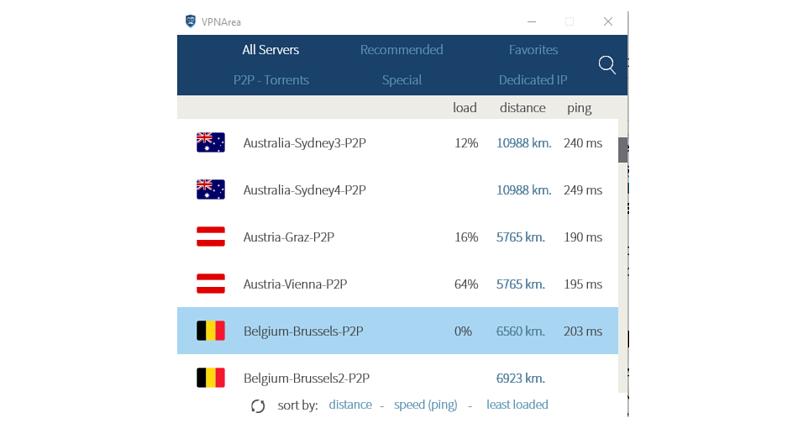 A screenshot of the VPNArea app's server list