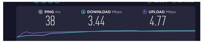 A screenshot of VPN Area's speed in Nairobi