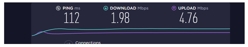 A screenshot of VPN Area's speed in South Africa