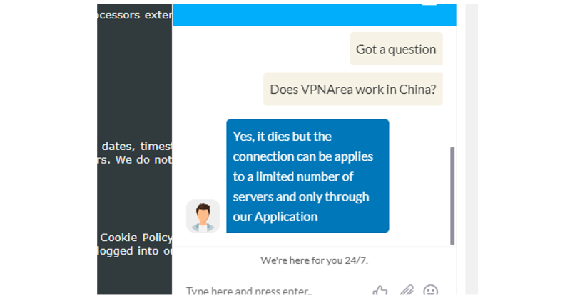 A screenshot of VPNArea's customer support confirming it works in China