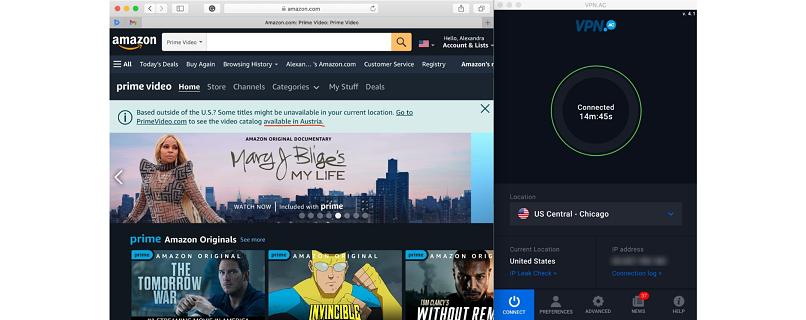 Screenshot of Amazon Prime Video blocked