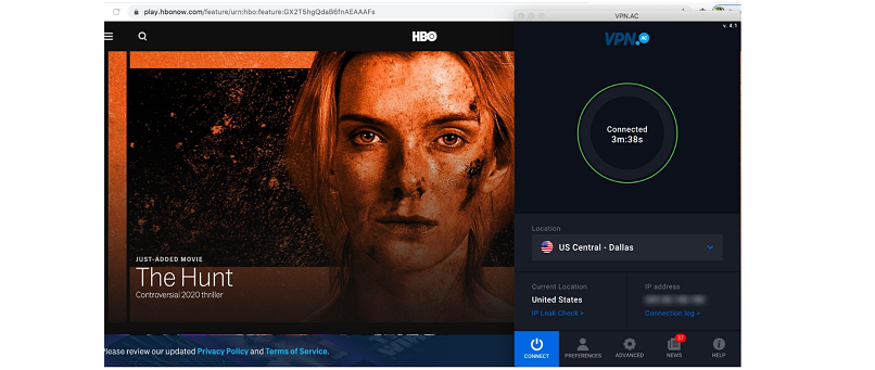 Screenshot of The Hunt on HBO NOW while connected to the US Central Dallas Server