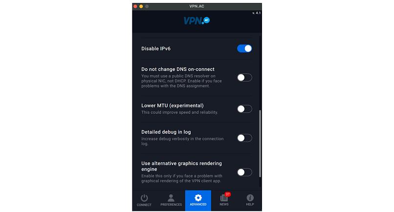 A screenshot of the VPN.ac app