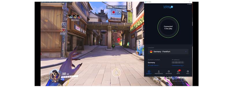 Screenshot of Overwatch gameplay while using VPN.ac