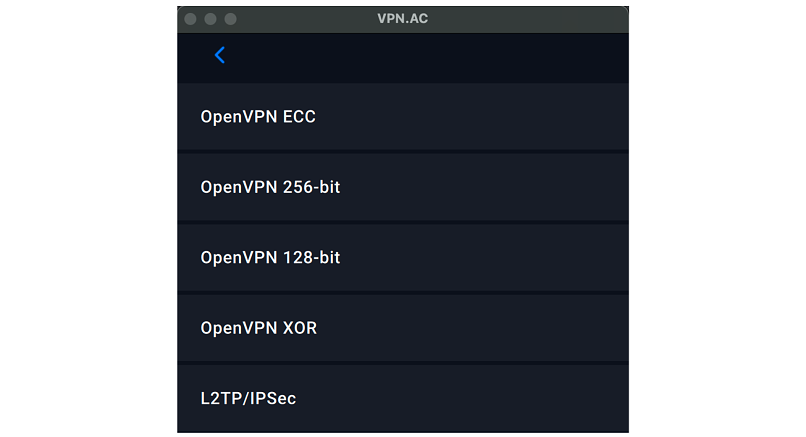 Screenshot of VPN.ac's app and available protocols