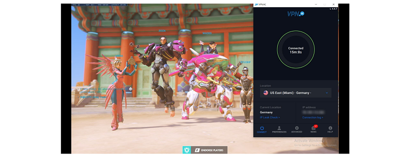 A screenshot of playing Overwatch with VPN.ac