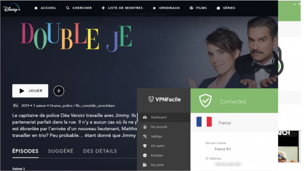 A screenshot of VPNFacile unblocking the French Disney+ library.
