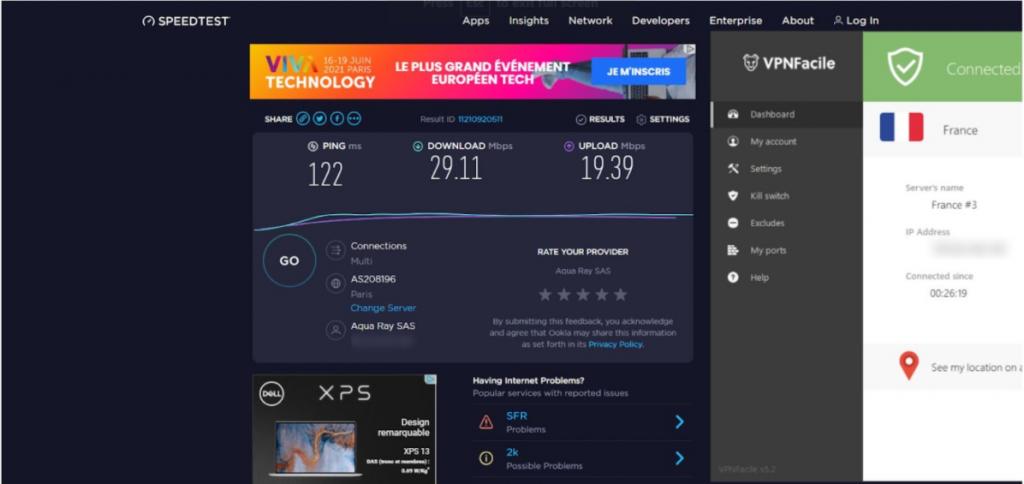 A screenshot of VPNFacile's speedtest.net results.