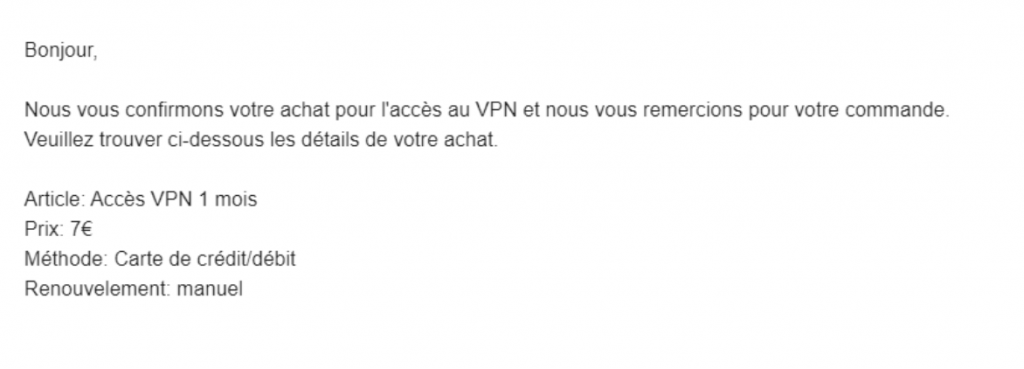 A screenshot of a reply from VPNFacile support.