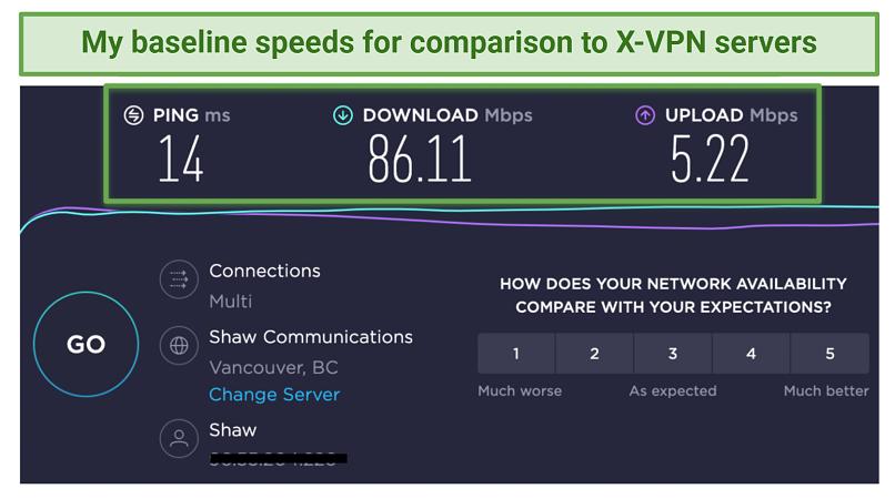 Screenshot showing baseline Ookla speedtest results