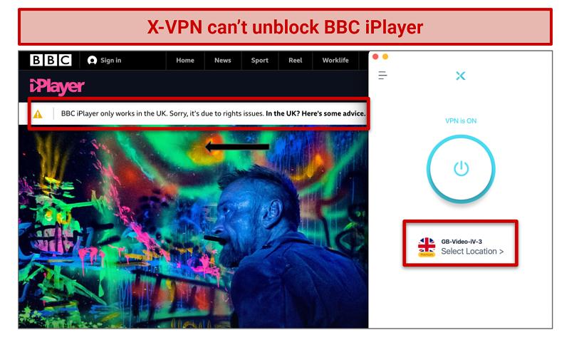 Screenshot showing X-VPN didn't unblock BBC iPlayer