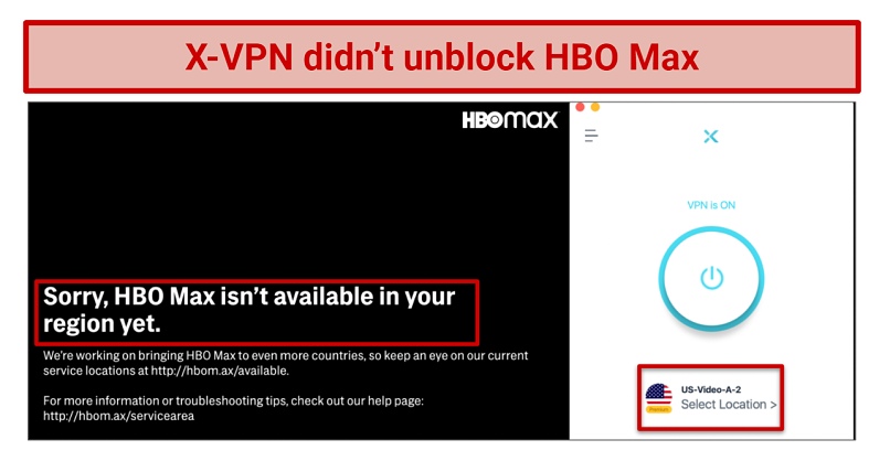 screenshot showing X-VPN didn't unblock HBO Max