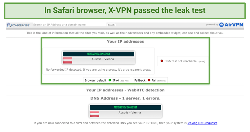 Screenshot showing X-VPN passed the leak test using Safari