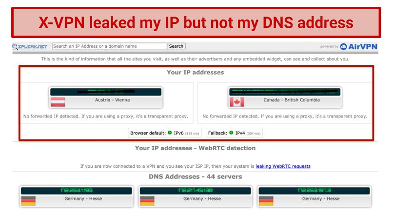 Screenshot showing X-VPN leaked my IP address