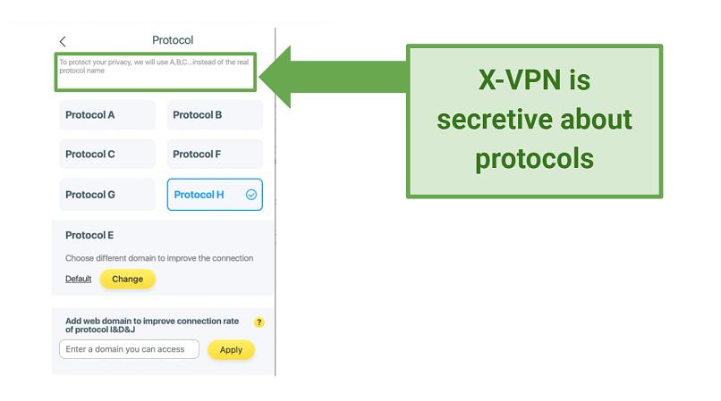 Screenshot showing secretive X-VPN protocols