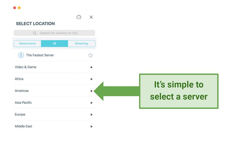 Screenshot showing X-VPN server selection