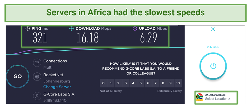 Screenshot showing X-VPN Africa servers with slow speeds