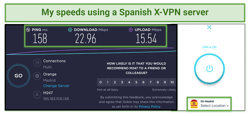 Screenshot showing X-VPN speeds using a Spanish server