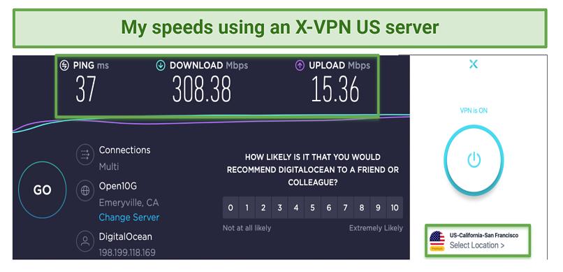 Screenshot showing X-VPN speeds using a US server