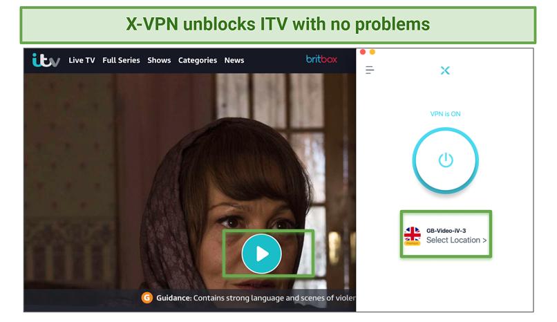 Screenshot showing X-VPN unblocked ITV