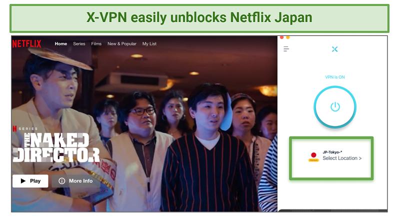 Screenshot showing X-VPN unblocked Netflix