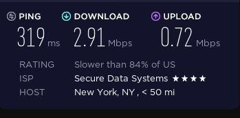 Speed test on a ZenMate server in the US