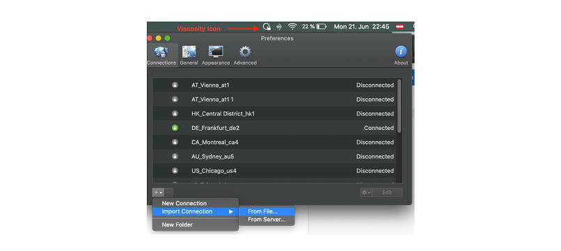 A screenshot of setting up Viscosity.