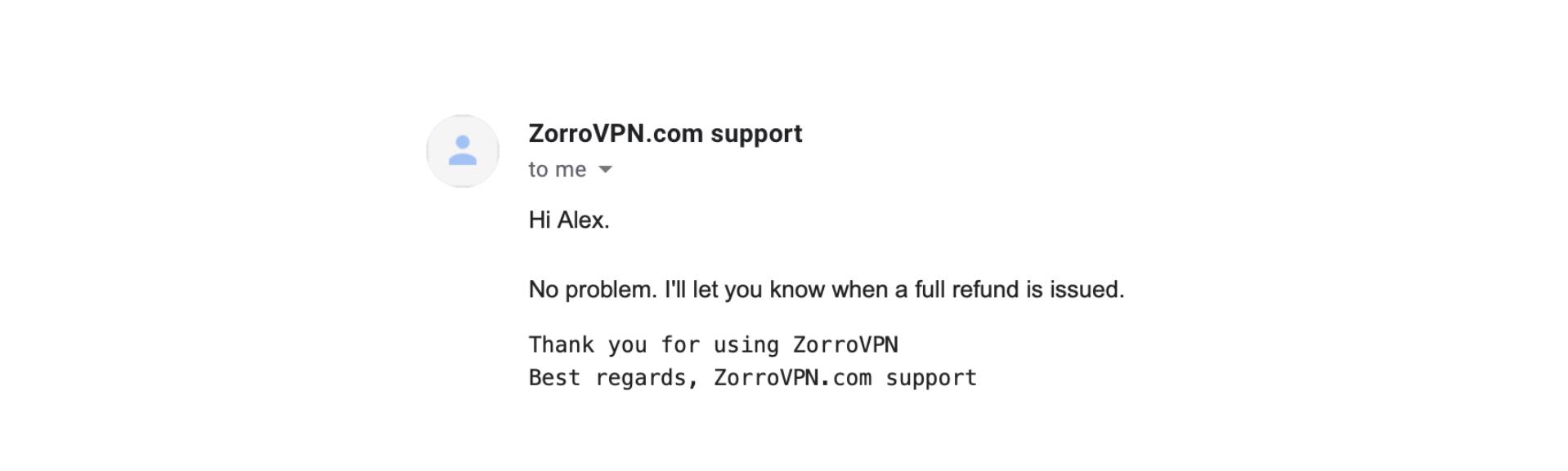 A screenshot of ZorroVPN's customer support.