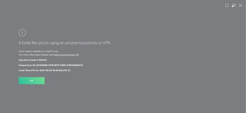A screenshot of Hulu detecting ZorroVPN