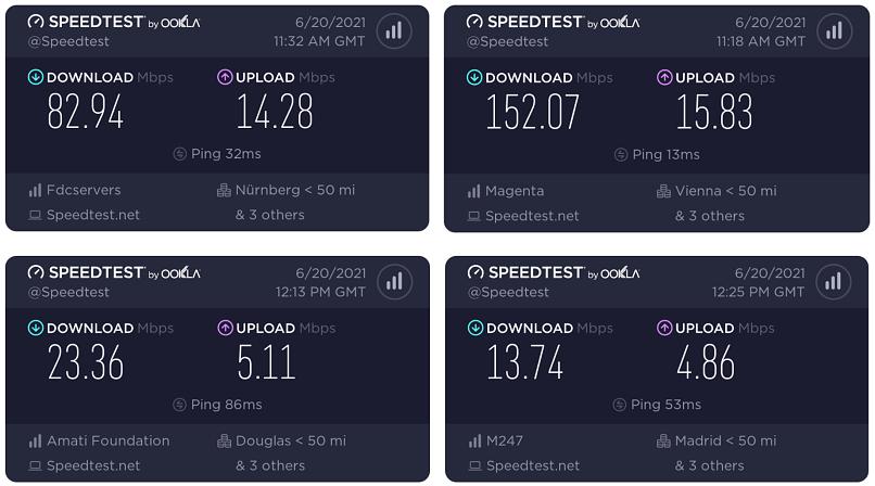 Screenshots of ZorroVPN's speed test results.