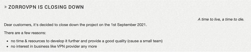 A screenshot of ZorroVPN's closing down message.