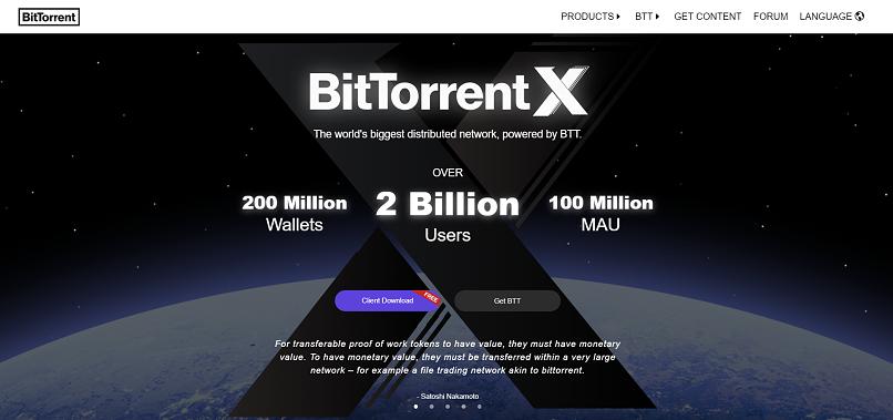 BitTorrent homepage screenshot