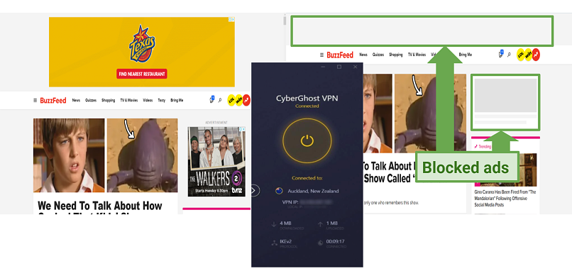 Graphic showing CyberGhost ad blocker