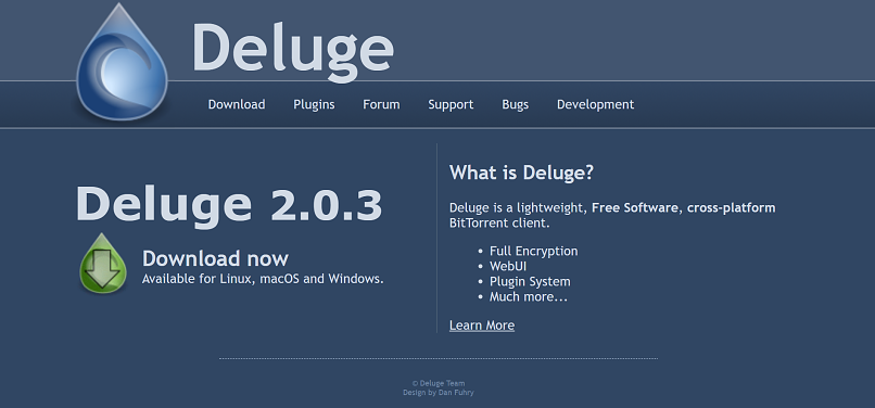 Deluge homepage screenshot