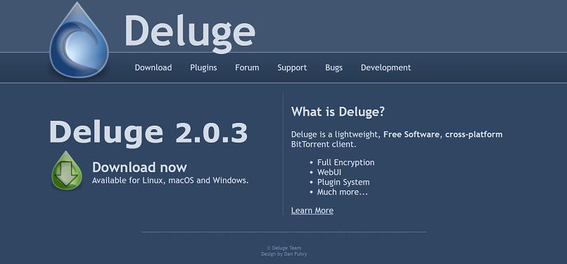 Deluge homepage screenshot