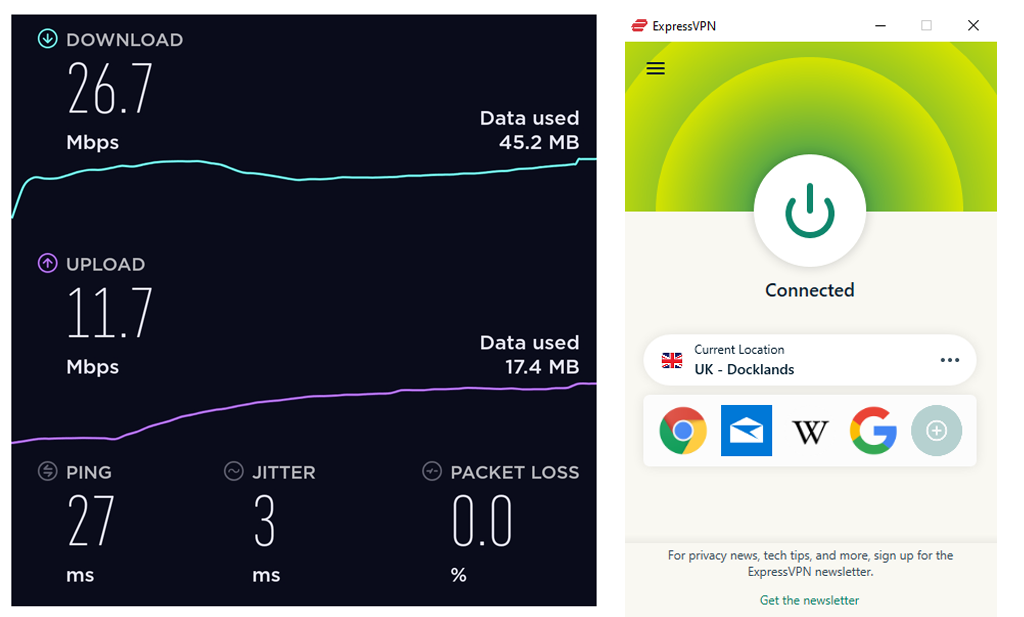 Screenshot of ExpressVPN's speed tests in the UK