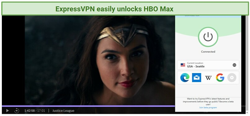 screenshot of Justice League streaming in HBO Max player unblocked with ExpressVPN