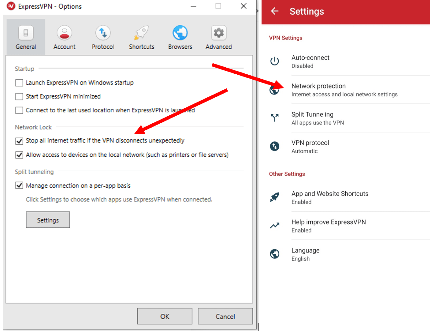 ExpressVPN settings interface